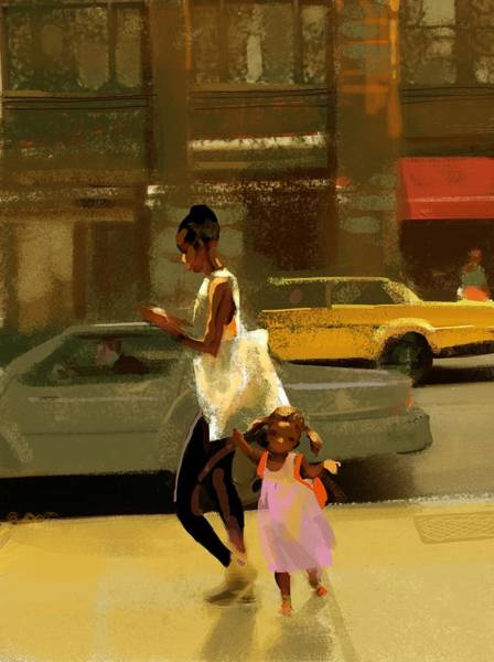 Wall Art - Photograph - Woman And Child Walking Down City by Gillham Studios