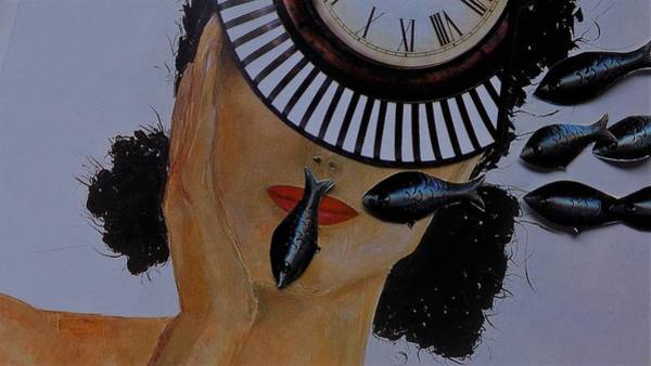 Silence Mixed Media - Woman And Fishes by Susana Lavega
