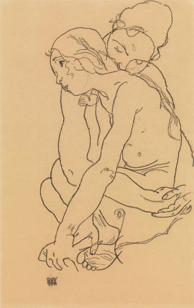 Austrian Drawing - Woman And Girl Embracing by Egon Schiele