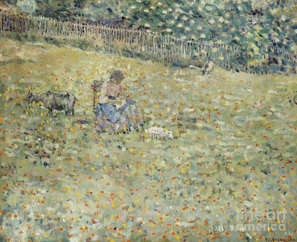 Wall Art - Painting - Woman And Goat by Frederick Carl Frieseke
