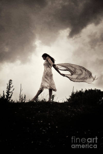 Photograph - Woman And Material In Wind by Clayton Bastiani