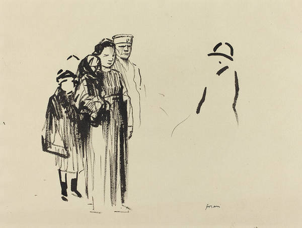 Wall Art - Drawing - Woman And Two Children With German Soldiers by Jean-louis Forain