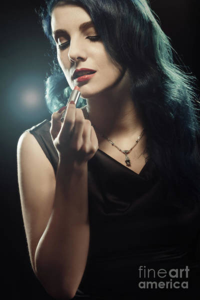 Hollywood Star Photograph - Woman Applying Lipstick by Amanda Elwell