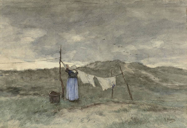Clothesline Painting - Woman At A Clothesline In The Dunes by Anton Mauve