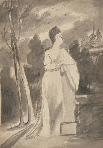 Wall Art - Drawing - Woman At A Column by George Romney