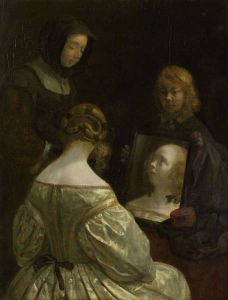 Painting - Woman At A Mirror  Gerard Ter Borch II C 1652 by Artistic Panda