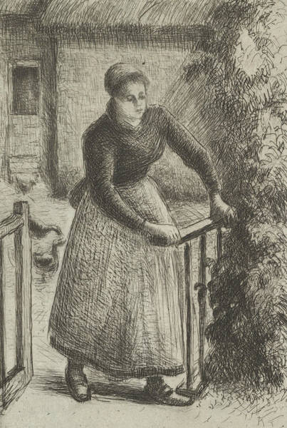 Relief - Woman At The Gate by Camille Pissarro