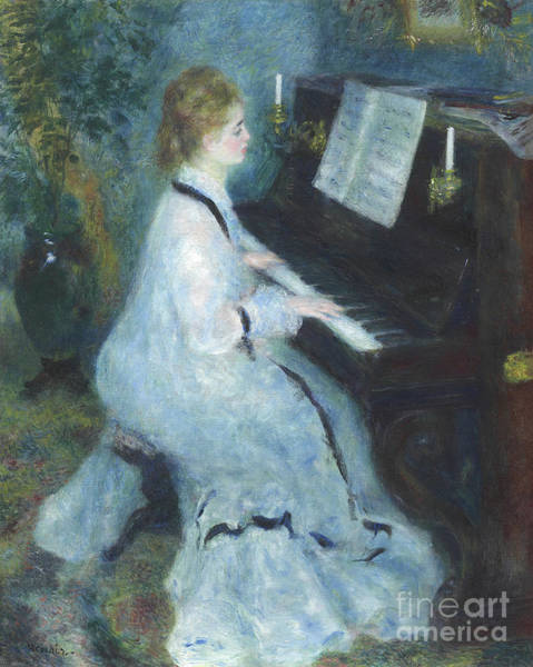 Blue Dress Painting - Woman At The Piano by Pierre Auguste Renoir