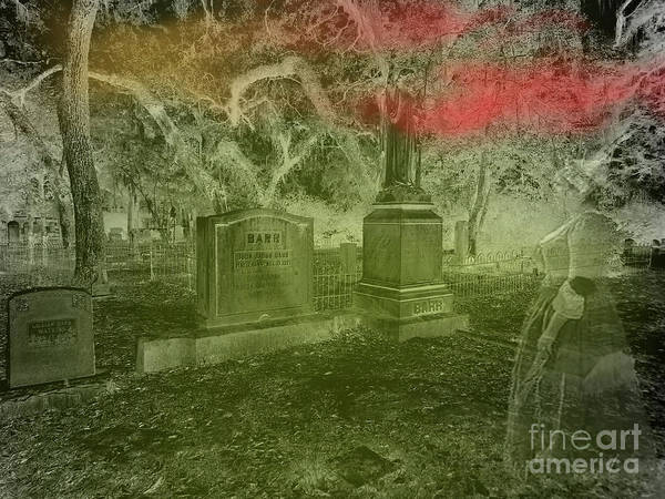 Photograph - Woman At The Tombstones by D Hackett