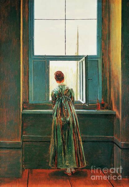 Wall Art - Painting - Woman At Window by Caspar David Friedrich