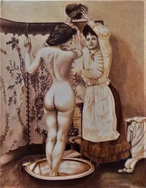 Drawing - Woman Bathing by Chuck Caputo
