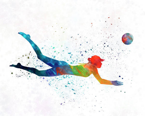 Volley Painting - Woman Beach Volley Ball Player 01 In Watercolor by Pablo Romero