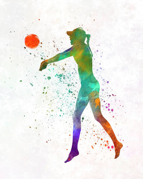Volley Painting - Woman Beach Volley Ball Player 02 In Watercolor by Pablo Romero