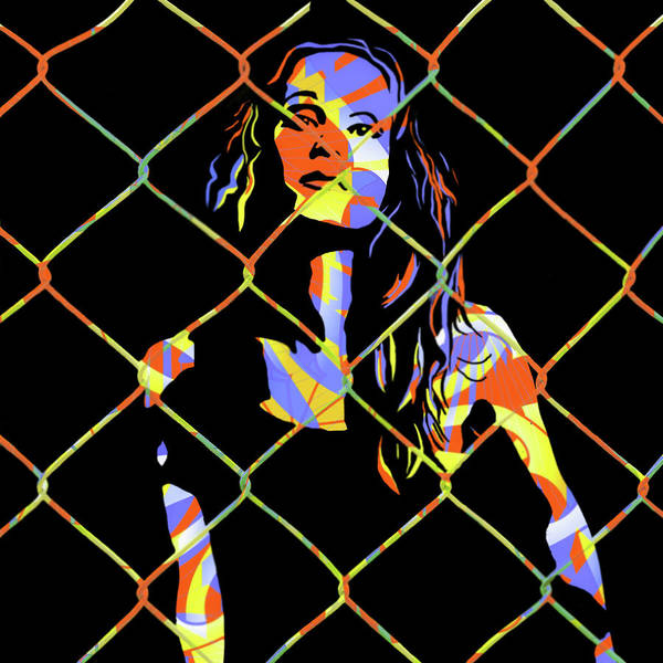 Chain Link Photograph - Woman Behind Chain Link by Jeff Burgess