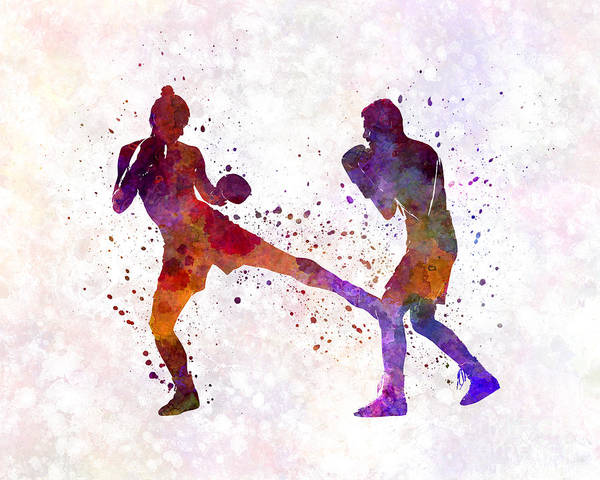 Thai Boxing Painting - Woman Boxer Boxing Man Kickboxing Silhouette Isolated 02 by Pablo Romero