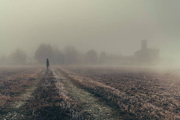 Photograph - Woman, Church And Frozen Field by Alexandre Rotenberg