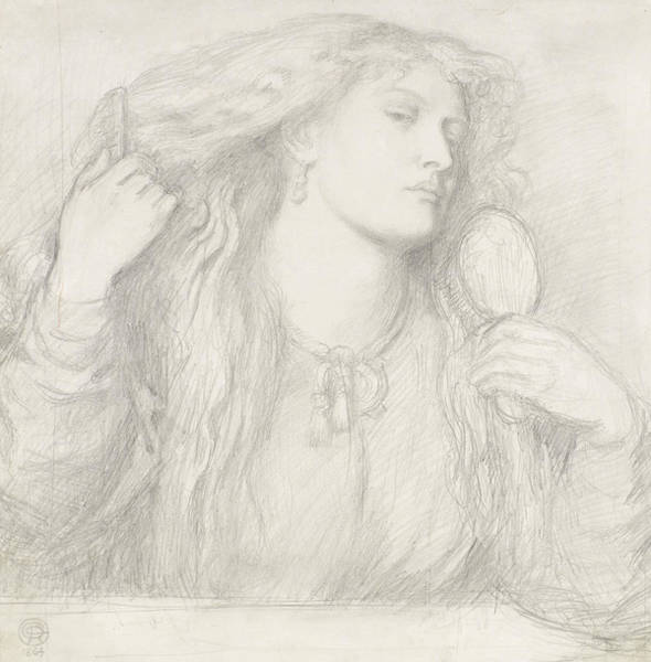 Drawing - Woman Combing Her Hair, Fanny Cornforth by Dante Gabriel Rossetti
