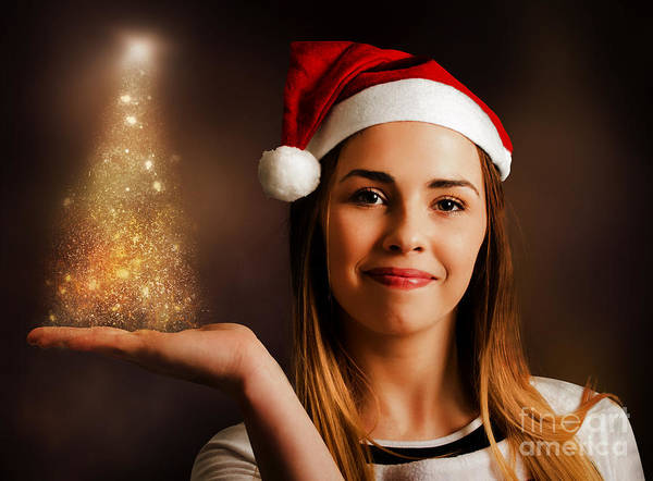 Photograph - Woman Displaying Christmas Tree Lights by Jorgo Photography - Wall Art Gallery
