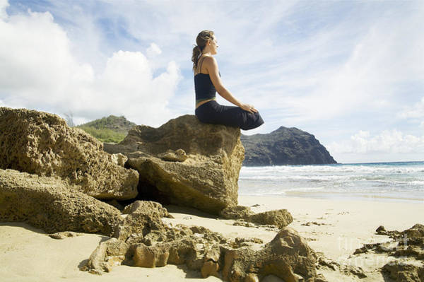 Mahaulepu Beach Photograph - Woman Doing Yoga by Kicka Witte - Printscapes