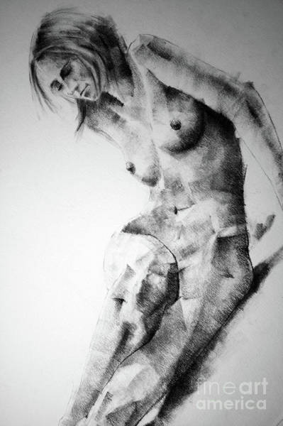 Drawing - Woman Figure Body Sketch by Dimitar Hristov