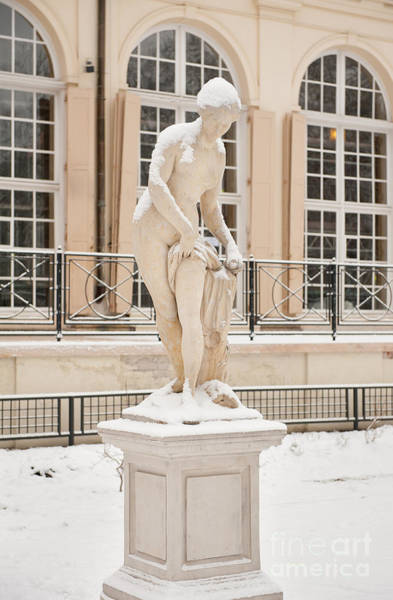 Wall Art - Photograph - Woman Figurine In Front Of Old Orangery by Arletta Cwalina