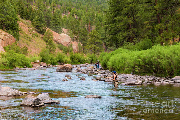 Photograph - Woman Fly Fishing On The Platte by Steve Krull
