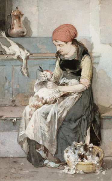 Painting - Woman From Psara Plucking A Rooster by Nikiforos Lytras