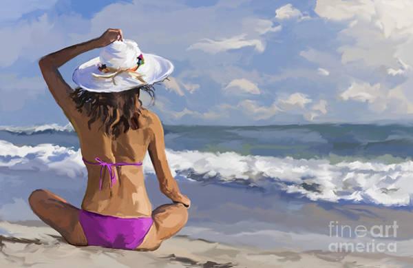 Crossed Legs Painting - Woman Girl Sitting Sun Hat And Bikini On Beach by Tim Gilliland