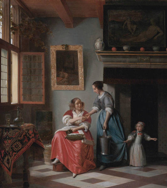 Window Frame Painting - Woman Hands Over Money To Her Servant by Pieter de Hooch
