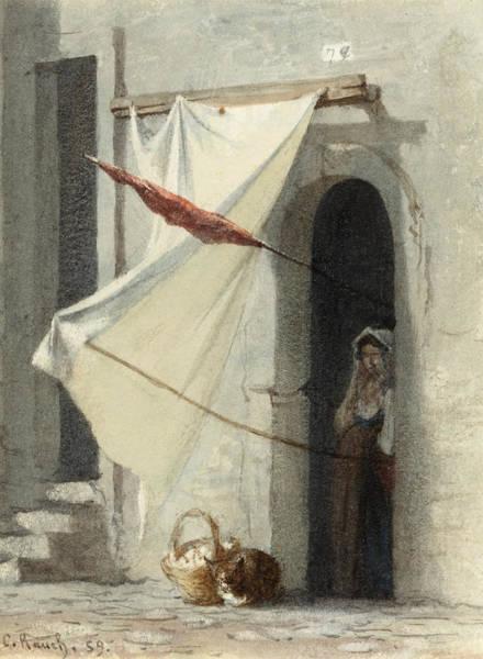Rauch Wall Art - Drawing - Woman In A Doorway. Rome by Carl Rauch