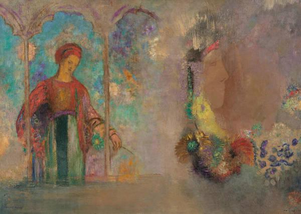 Painting - Woman In A Gothic Arcade by Odilon Redon