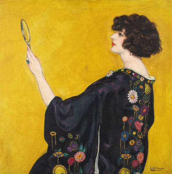 Wall Art - Painting - Woman In A Kimono In Profile by Eduardo Chicharro