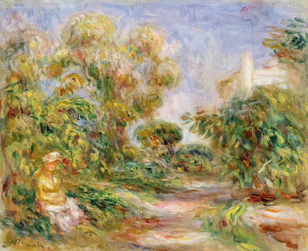 1918 Painting - Woman In A Landscape by Renoir