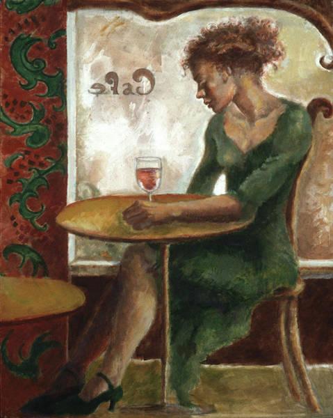 Painting - Woman In A Paris Cafe by Ellen Dreibelbis