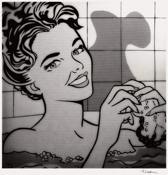 Photograph - Woman In Bath Black And White by Doc Braham - In Tribute to Roy Lichtenstein