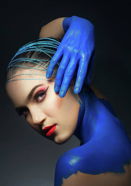 Hammamet Photograph - Woman In Blue Body Paint And Red Makeup by Benedict Salvacion