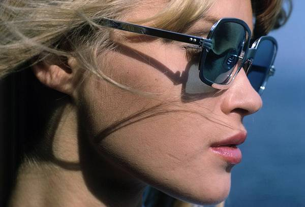 Summer Photograph - Woman In Blue Sunglasses by Frank Horvat