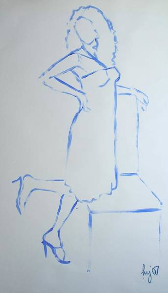 Drawing - Woman In Dress Next To Chair by Mike Jory