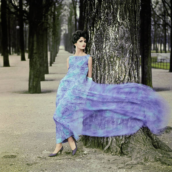 Blue Gown Photograph - Woman In Flowing Pierre Cardin Gown by Henry Clarke