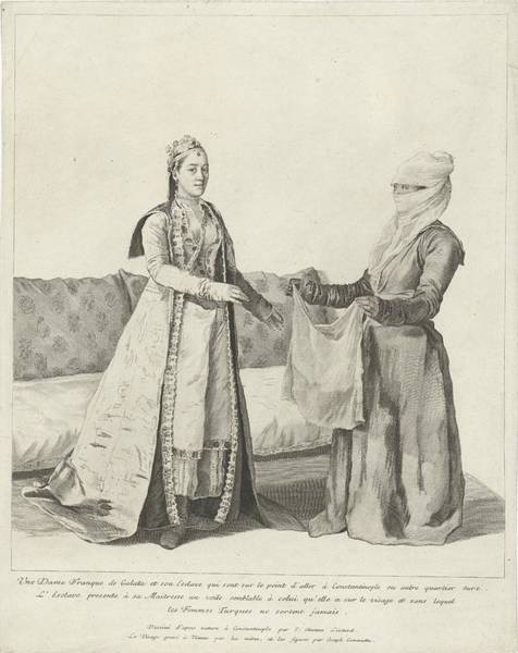 Jean Etienne Liotard Wall Art - Painting - Woman In Galata Gets A Veil, Jean-etienne Liotard, 1745 by Celestial Images