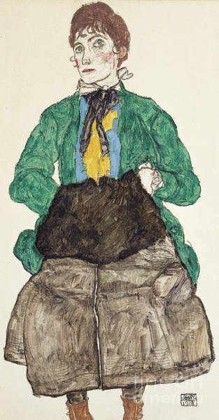 Expressionism Drawing - Woman In Green Blouse With Muff by Egon Schiele