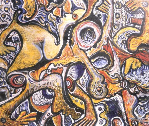 Recycling Painting - Woman In Her Privacy by Mbonu Emerem