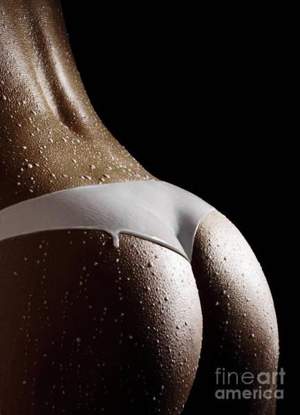 Wall Art - Photograph - Woman In Panties Made Of Milk Art Print by Oleksiy Maksymenko