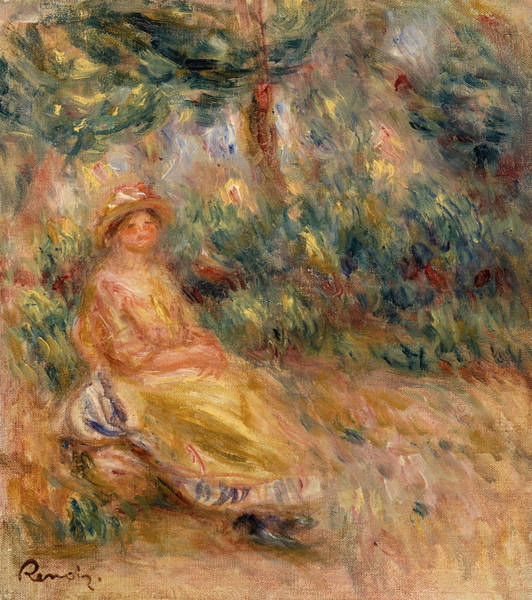 Rural Life Wall Art - Painting - Woman In Pink And Yellow In A Landscape by Pierre-Auguste Renoir