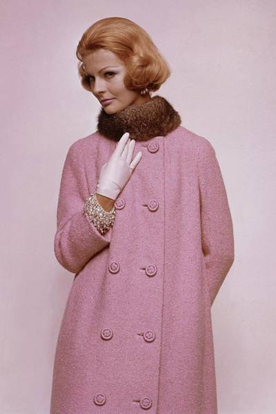 Photograph - Woman In Pink Tweed Coat by Bert Stern