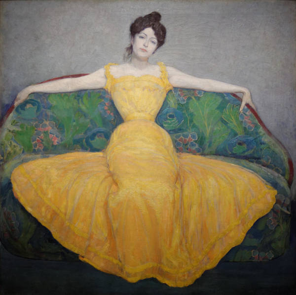 Painting - Woman In A Yellow Dress by Max Kurzweil