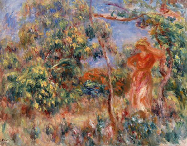 Rural Life Wall Art - Painting - Woman In Red In A Landscape by Pierre-Auguste Renoir