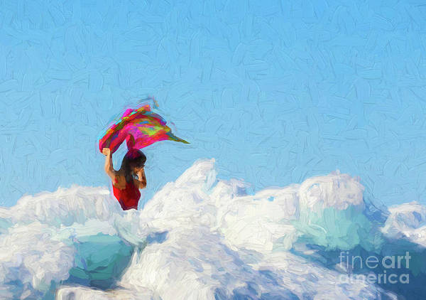Digital Art - Woman In Red - Painterly by Les Palenik