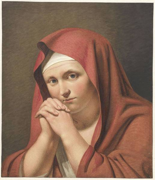 Painting - Woman In Red, With Folded Hands, Cornelis Kruseman, After Anonymous, 1814 by Artistic Panda