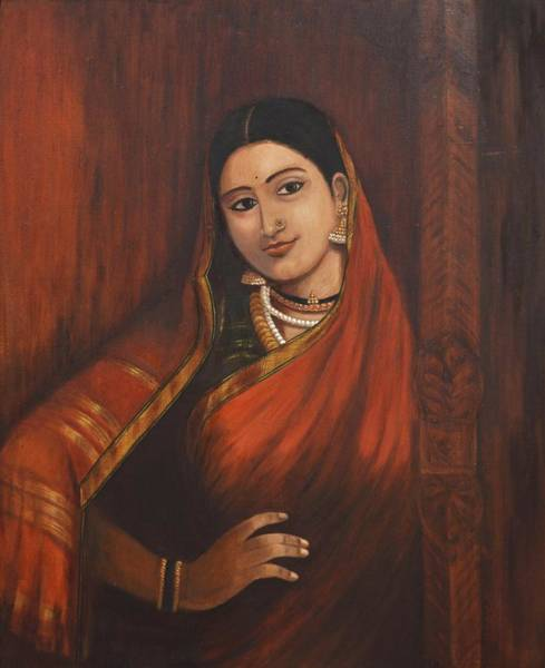 Usha Painting - Woman In Saree - After Raja Ravi Varma by Usha Shantharam